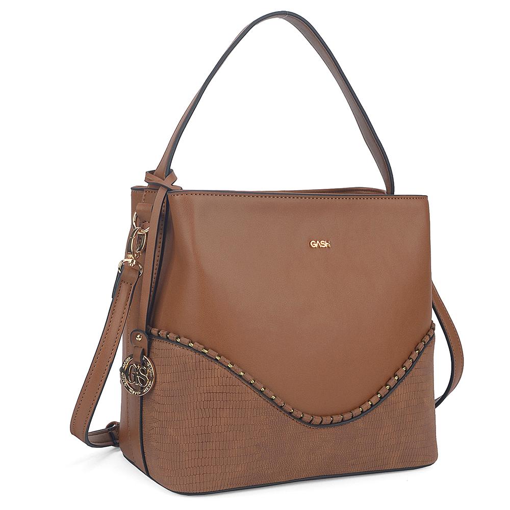 38338c6ca Bolsa Gash Onda Dourada Marrom - Bella Falcao bolsas femininas